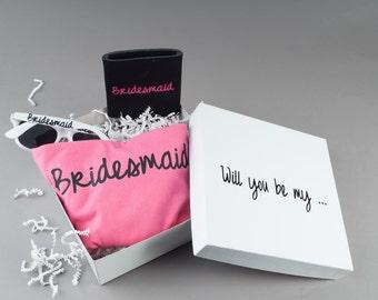 Pink Bridesmaid Box - Bridesmaid Proposal Gift - Zebra Sunglasses - Pink Bridesmaid Tank Top - Bridesmaid Can Cooler - Bridesmaid Can Sleeve