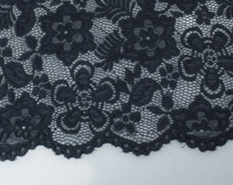 Navy 58'' Caroline Floral Scalloped Nylon Stretch Lace Fabric by the Yard- Style 686