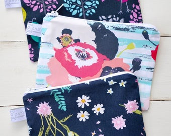 Eco Friendly Reusable Snack Bag - Choose Your Size and Print - Tweet As Can Be, Floral Stripe, Small Flower Navy
