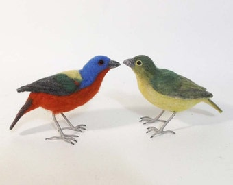 Painted Buntings - Male and Female Pair - needle felted birds made to order