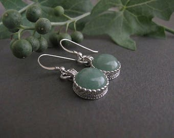 Jewelry,Earrings, Silver earrings, Filigree earrings, Aventurine earrings, Israel jewelry, Yemenite jewelry