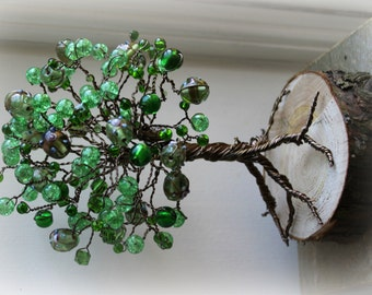 Nature beaded elven Rainbow tree wirewrap unique gift  woodland ~READY FOR POSTING