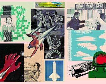 Original Science Collage Art Digital Art Mixed Media Collage Lowbrow Punk Sci-Fi Geek Art