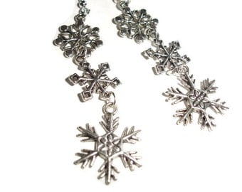 Triple Snowflake Earrings Holiday Earrings Winter Earrings Snow Snowflake Long Snowflake earrings Silver Snowflake