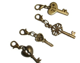 Key Pendants Brass Key pendants brass keys clip on keys bracelet key charms key charm set brass key set clip key bracelet clip charm clip