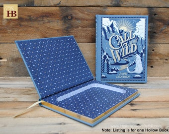 Book Safe - The Call of the Wild - Blue Leather Bound Hollow Book Safe