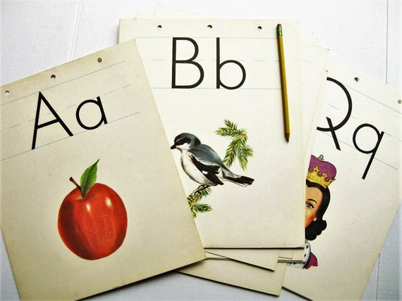 "1963 Milton Bradley Alphabet Poster Cards. A-Z. Giant Size  14""x 11-1/4"" ABCs. Classroom display. Lithograph."