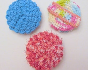 Crochet Flower Face or Dish Scrubbies PDF Crochet Pattern INSTANT DOWNLOAD