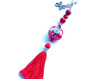 Purse charm/keychain, red beaded murano stone with tassel