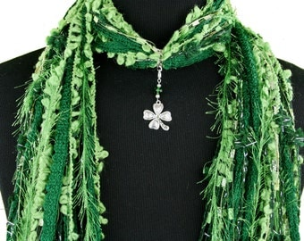 St Patricks Day Scarf, Green Silver, Shamrock Scarf, Green Scarf, Shamrock Necklace Scarf, Detachable Pendant, Fringe Scarf
