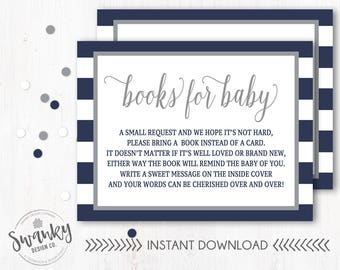 Navy and Gray Books for Baby, Bring a Book instead of a card, Book Request Insert, Navy and Gray Baby Shower, A Small Request for Books