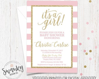 Blush Pink and Gold Baby Shower Invitations Girl Baby Shower It's a girl Baby Shower Invitations Gold Glitter and Blush Pink Pink Shower