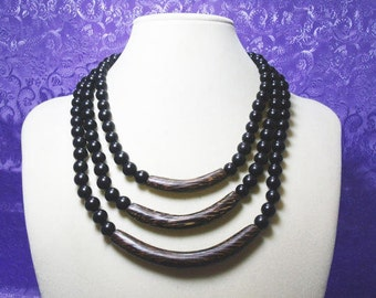 Black Bead Necklace With Plastic Beads and Wood Tube Beads / Triple Strand