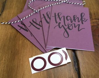 Thank you cards//Hand-lettered//Notecard Set