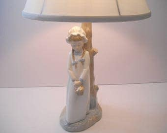 NAO Lladro Girl Lamp with White Shade