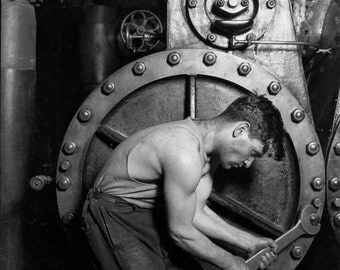 Lewis Hine, Famous Photo, Mechanic Working on Steam Pump