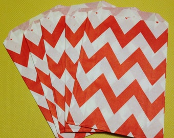 CLEARANCE! Set of 12 - Paper Bags with Red Chevron Design