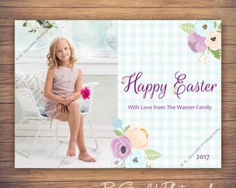 Personalized Easter Photo Card | Happy Easter Holiday Greeting Card | Blue, Purple, and Peach Floral | Easter Baby Announcement with Photo