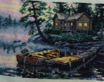 Cross stitch lakeside sunrise