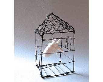Home is where the Heart is, cage, house, anatomical heart, hanging art, sculpture, mixed media
