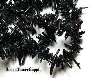 1 Strand Black Coral Beads, Shell Beads, Gemstone Beads, Black Beads