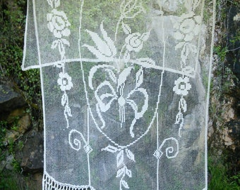 RESERVED Large French Vintage Lace Filet Crochet Cream Curtain Panel 8 ft