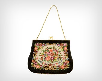50s Purse // 1950's Needlepoint Mini-Tapestry Bag w/ Matching Coin Purse