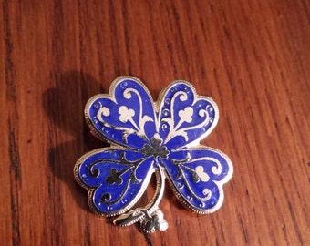 Blue and silver enamel four leaf clover brooch