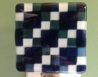 Fused Glass, Blue, Argyle, Nursery, Night Light, Nightlight, Checkered, Powder Room, Light, Kitchen, Foyer