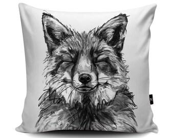 Fox Cushion, Fox Pillow, Happy Fox Cushion Cover, British Wildlife Bedding, Fox Throw, Fox Gift, Foxy Present, 45/60cm, Faux Suede Cushion