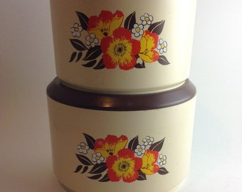 Vintage Retro Kitchen Canister Set Sterelite Set of 2  Orange and Yellow Flowers Large Canisters for Flour and Sugar Cream with Brown Lids