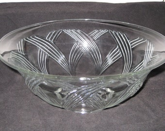 Vintage Anchor Hocking clear glass crossing swirls salad bowl AHC66-Hard to find