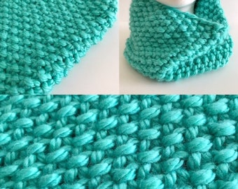 Chunky Aqua Mermaid Tail Knit Cowl - READY TO SHIP