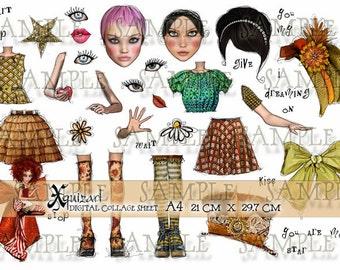Art Journal Pieces Collage Sheet No.1 - Digital Scrapbooking - Printable - Paper Dolls