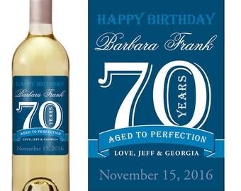 70th Birthday Wine Label - Personalized Wine Label - Custom Wine Label - Milestone Birthday - Adult Birthday