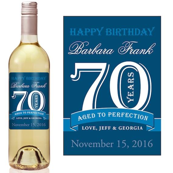 70th birthday wine label personalized wine label custom wine
