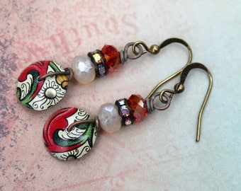 Romantic Red Sparkle Vintage Flair Earrings by Angela Gruenke of Contents Jewelry