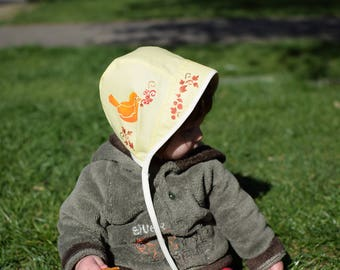 Sun hat with songbird, yellow summer hat, baby bonnet, sun bonnet, 6-12 month ready to ship, personalized, hand painted