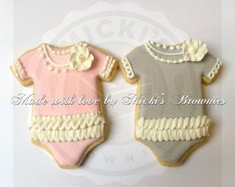 Onesie Sugar Cookies, Baby Shower Cookies, 25 Cookies Per Order