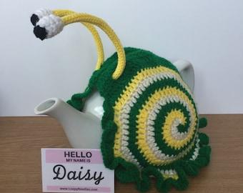 DAISY Crochet Snail Tea Cosy fits 5 cup teapot 3 colours: green, cream, yellow