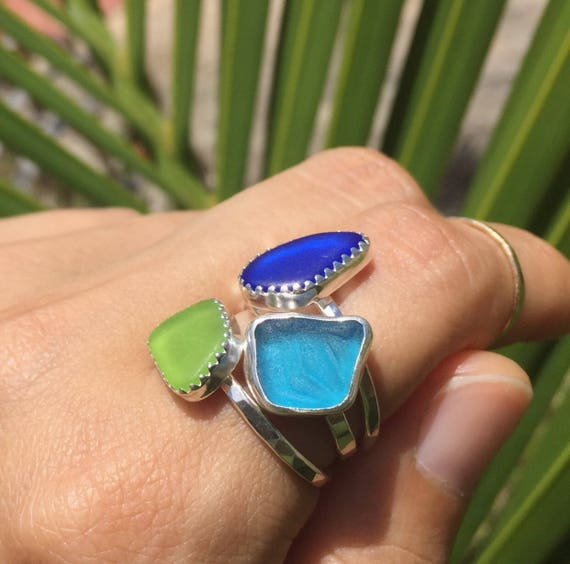 rare colors sea glass stacker rings