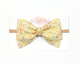 Baby Headband - Baby Girl Headband - Yellow Bow - Newborn Headband - Infant Headband - Flower Bow Headband - Baby Accessories, YELLOW FLORAL