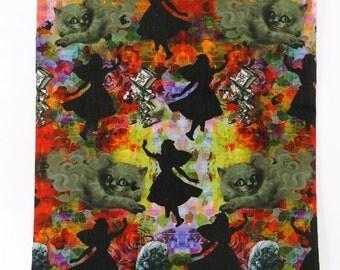 alice in wonderland dark  fabric