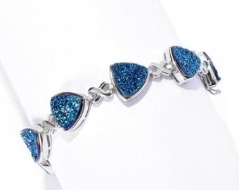 Sterling Silver 26.84ctw Blue Drusy 9.5mm Trillion Link Bracelet SZ 8