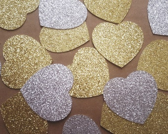 Gold or Silver GLITTER Heart die cuts/ Gold or Silver heart  /size 1.5inch -8inch/
