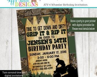 Camouflage  ATV Boys Birthday Party Invitation - ATV Racing Invitation - Blue and Green