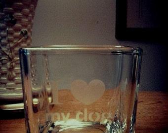I Love My Dog Square Glass Candleholder
