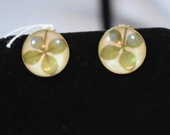 Vintage 1950s 1960s Coro 4 leaf clover shamrock clip back earrings
