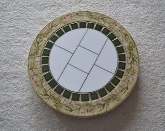 Mosaic Lazy Susan With Broken Vintage Stoneware