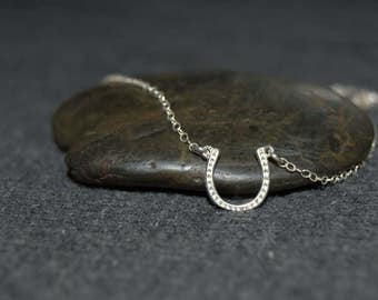 silver horseshoe necklace, sterling silver lucky charm necklace, cowgirl country jewelry, minimalist dainty necklace, layering necklace